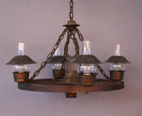 Antique Wagon Wheel Chandelier Sold Lb 3984 Wagon Wheel Chandelier W Glass Hurricane Shades Antique Chandeliers Antique And