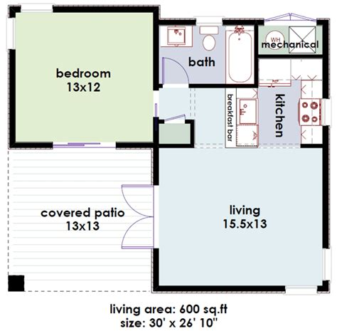 Studio600 Modern Guest House Plan D61 600 The House Plan Site