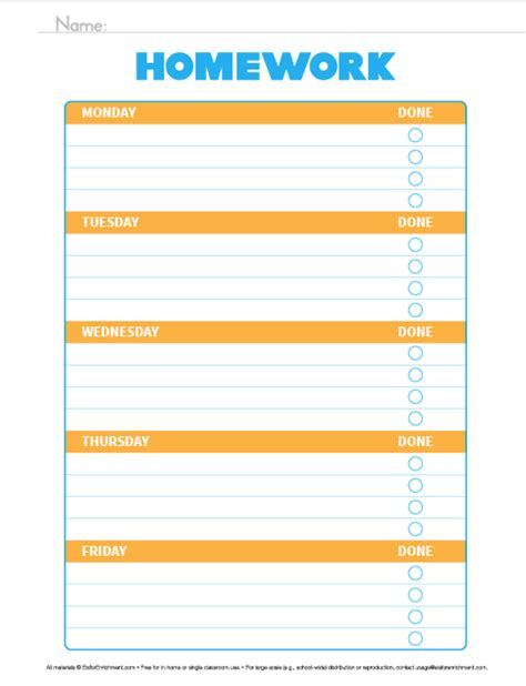 printable homework organizer organize the week homework organizer e is for enrichment