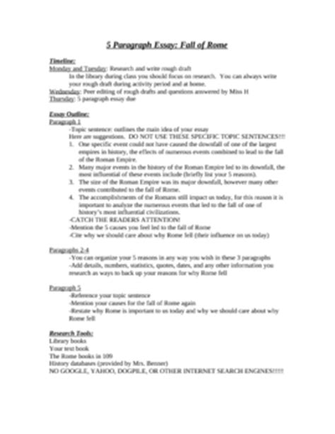 Decline Of Rome Essay by 5 Paragraph Essay Outline Worksheet Fall Of Rome By Miller