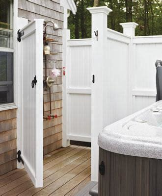 pvc outdoor shower custom shower enclosure with inline fence wood shower