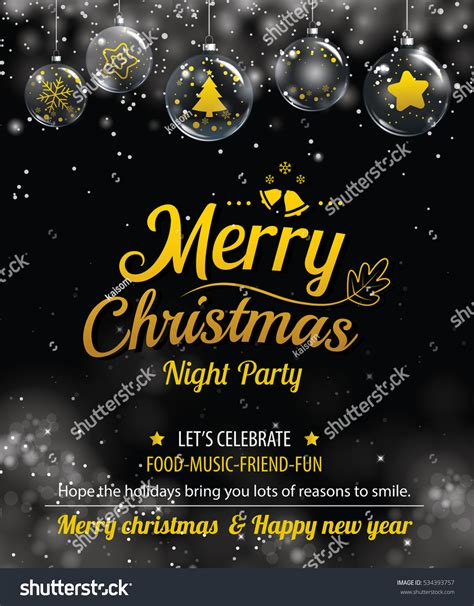 party title for christmas new year invitation merry poster banner stock vector 534393757