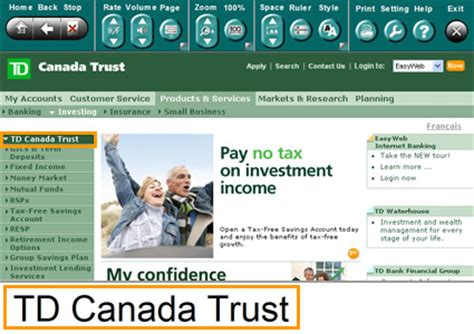 td bank canada trust easyweb pin canada trust easy web on