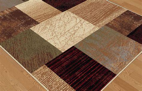 squares rug modern brown geometric blocks squares area rug contemporary multi color carpet ebay