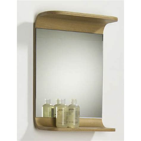 Wooden Bathroom Mirror With Shelf Bathroom Mirrors Aeri Small Rectangular Wood Mirror W Integral Shelf By Whitehaus