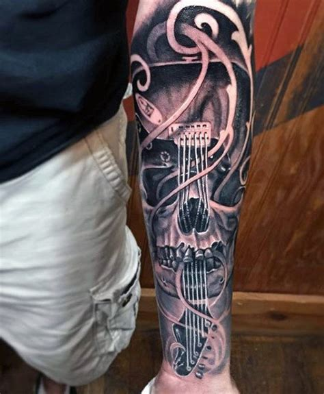 guitar tattoos for men 60 sleeve tattoos for lyrical ink design ideas