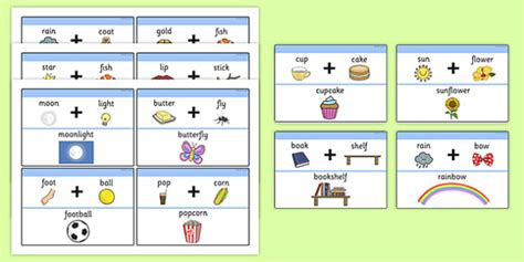 printable compound word matching games number names worksheets 187 matching pictures to words
