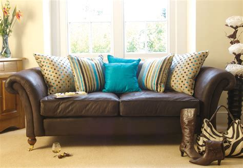 turquoise  brown sofa brown living room