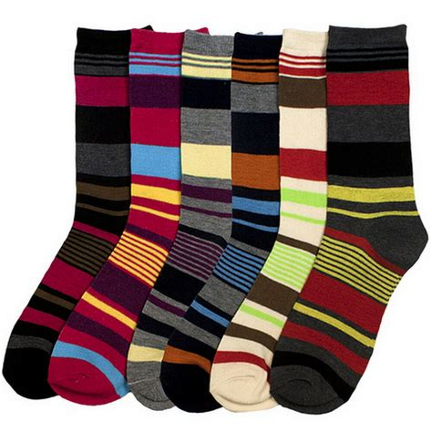 colored socks 6 pairs striped socks size 9 11 assorted multi colored