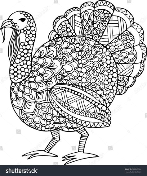 turkey doodle coloring page hand drawn outline thanksgiving turkey illustration