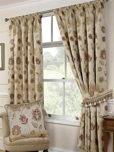 natural floral curtains portofino floral woven tapestry natural 3 quot pencil pleat