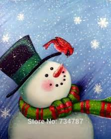 Wood Crafts Christmas - christmas oil paintings chinese oil paintings on canvas lovely christmas snowman picture