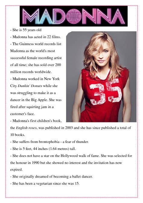 madonna biography facts madonna bio worksheet