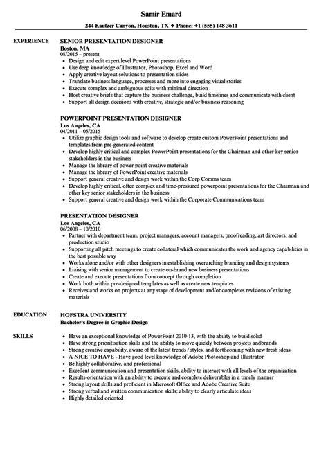 Resume Presentation by Presentation Designer Resume Sles Velvet