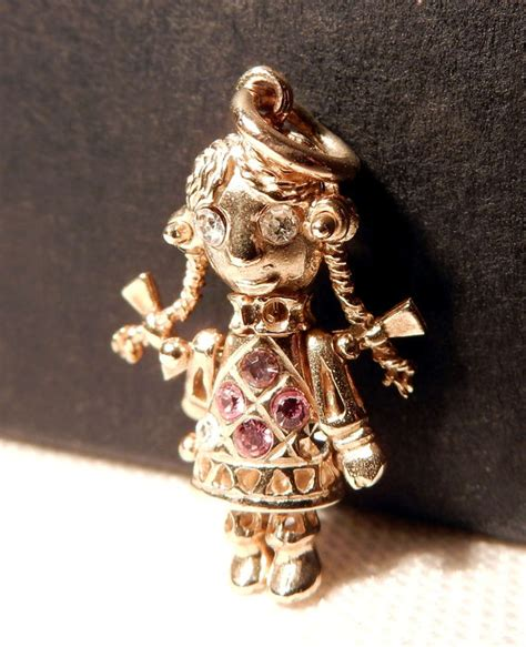 rag doll necklace design pendant and necklace in solid gold articulated