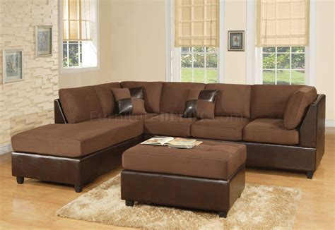 chocolate fabric modern two tone sectional sofa w bycast base