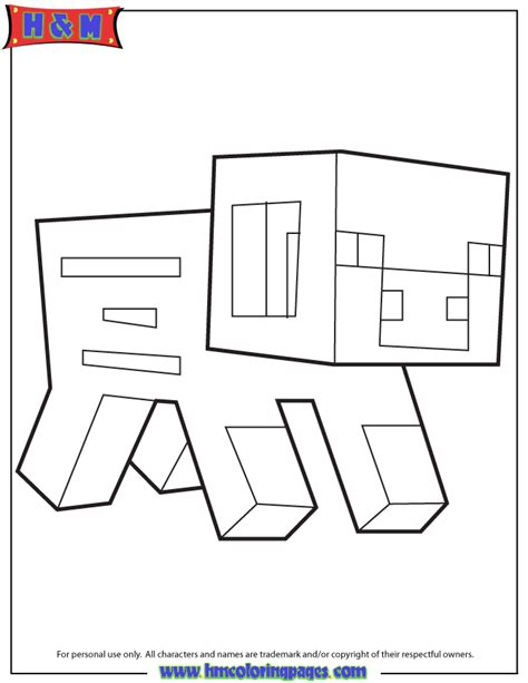 Minecraft Coloring Pages Baby Pig | minecraft pig coloring page h m coloring pages