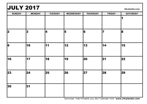 Calendar 2017 Printable Blank Blank July 2017 Calendar In Printable Format