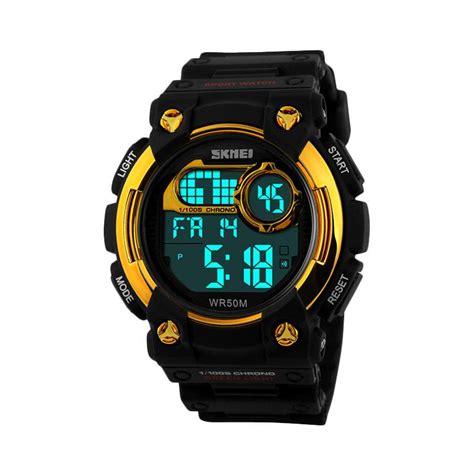 Jam Tangan Sport Skmei 1054 Jam Tangan Original Black Gold jual skmei 1054 c jam tangan pria hitam harga