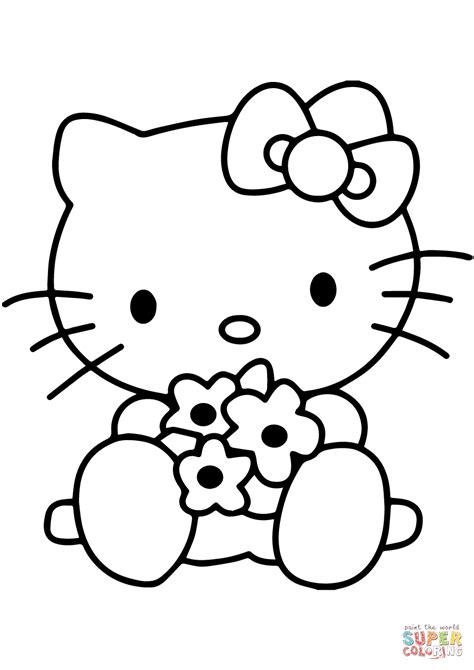 hello kitty with flowers coloring pages hello kitty with flowers coloring page free printable