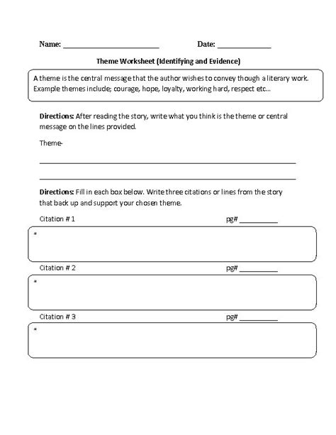 Theme Worksheet by 15 Best Images About Grade 4 Theme On