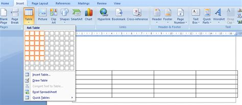 materi membuat tabel html belajar komputer asik membuat tabel di microsoft word 2007