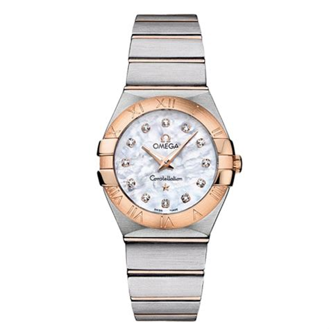 omega constellation mop white steel gold 27mm
