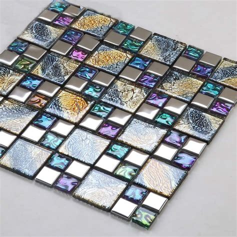 mosaic glass backsplash kitchen iridescent mosaic tile plated glass backsplash
