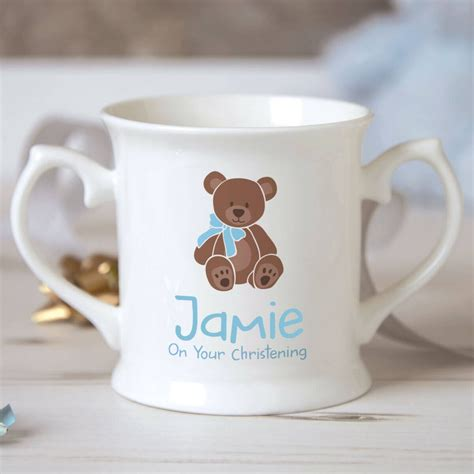mug design for christening personalised baby boy teddy bear christening mug giftpup