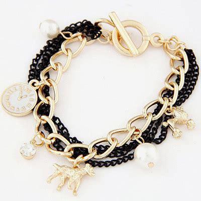 Flirty White Elephant Pearl Korean Fashion Bracelet estate black gold color pearl decorated multi element