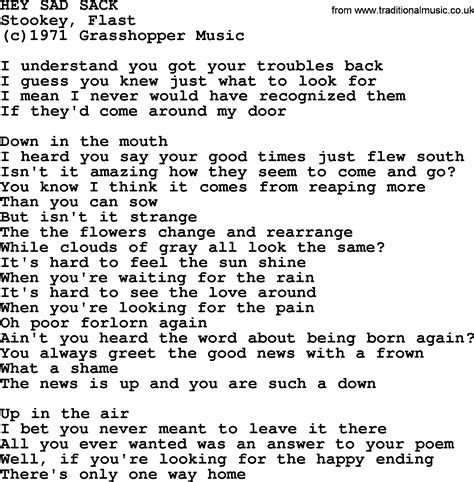 back number happy end chord peter paul and mary song hey sad sack lyrics