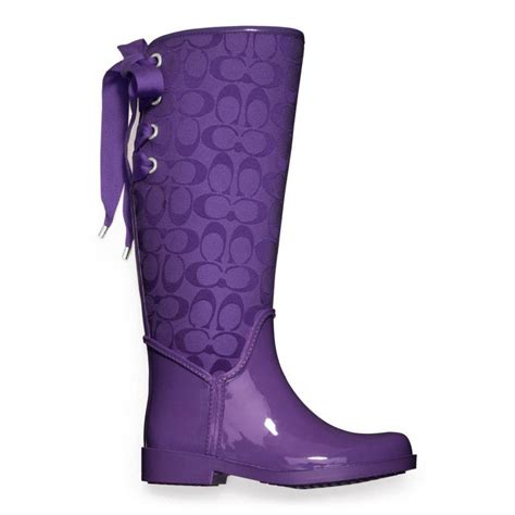 purple boots coach tristee rainboot from coach epic wishlist
