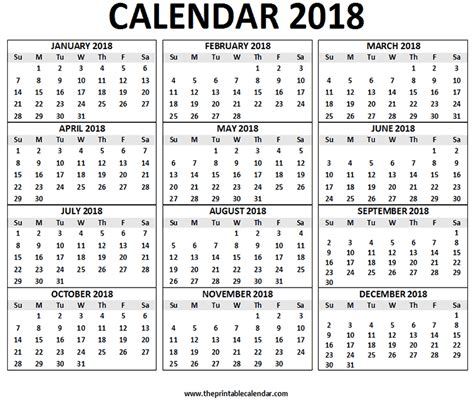 printable calendar 2018 in one page 2018 calendar printable 12 months calendar on one page