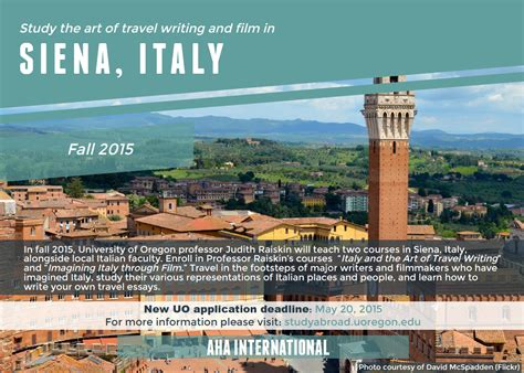 study the art of travel writing and film in siena italy