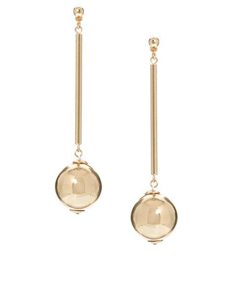 metallic drop earring asos drop earrings in metallic lyst