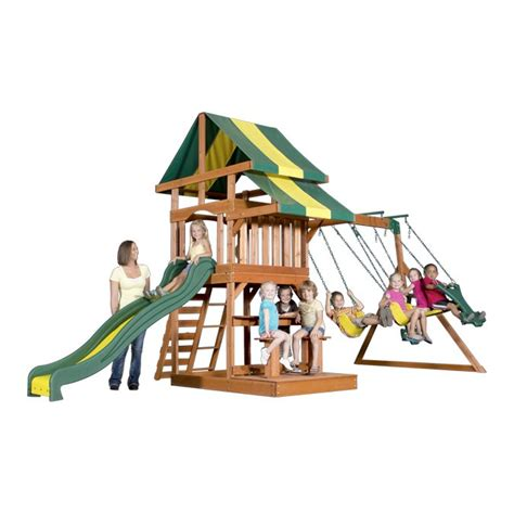 wooden slide and swing set independence wooden swing set 55008com with swings and slide