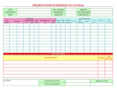 manufacturing route card template production schedule template excel free production