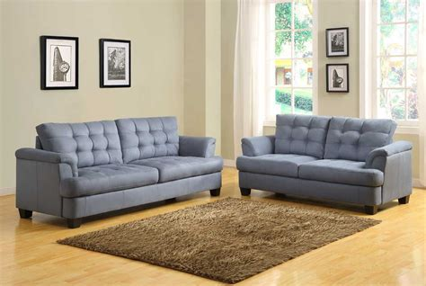 sofa couch set homelegance st charles sofa set blue gray u9736 3