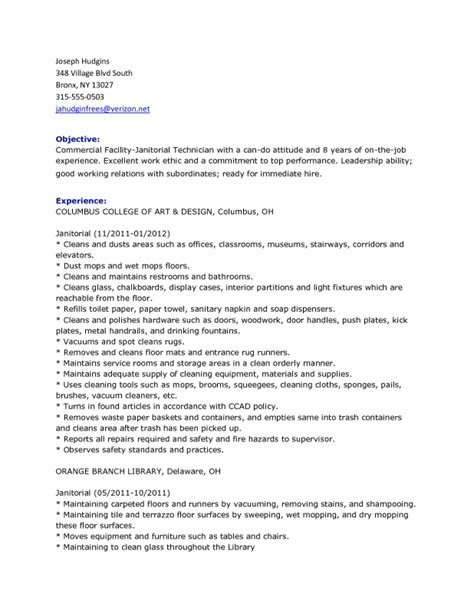 Janitorial Resume Templates by Custodian Resume Template Learnhowtoloseweight Net