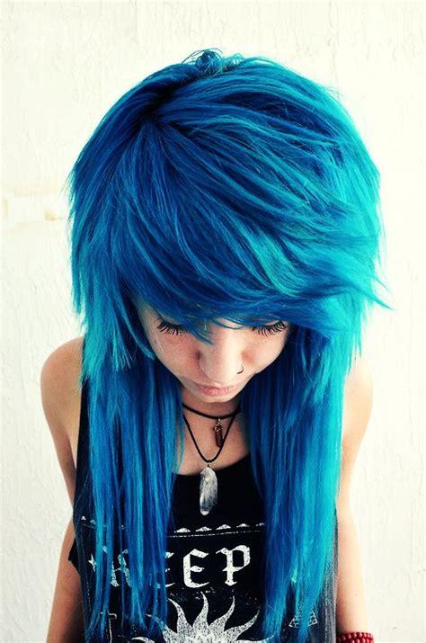 long scene hair back view beautiful creative cobalt blue haircolor long hair