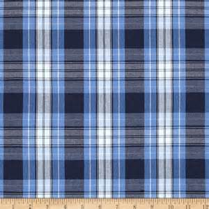 poly cotton plaid blue navy white discount