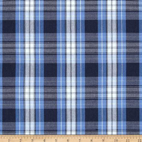 poly cotton plaid blue navy white poplin
