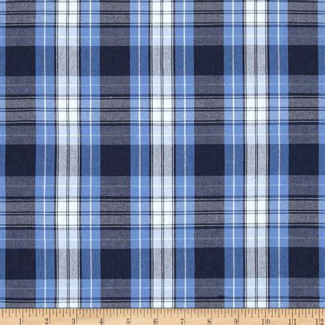 Poly Cotton Uniform Plaid Blue Navy White Discount