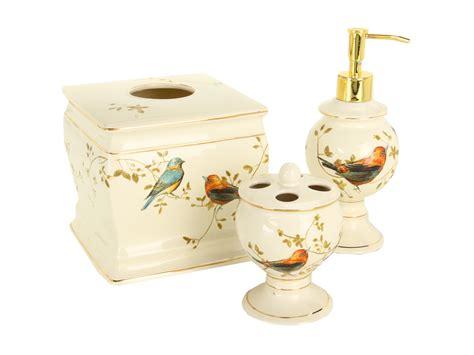 Avanti Bathroom Accessories Avanti Gilded Birds 3 Bath Accessory Set Ivory Shipped Free At Zappos