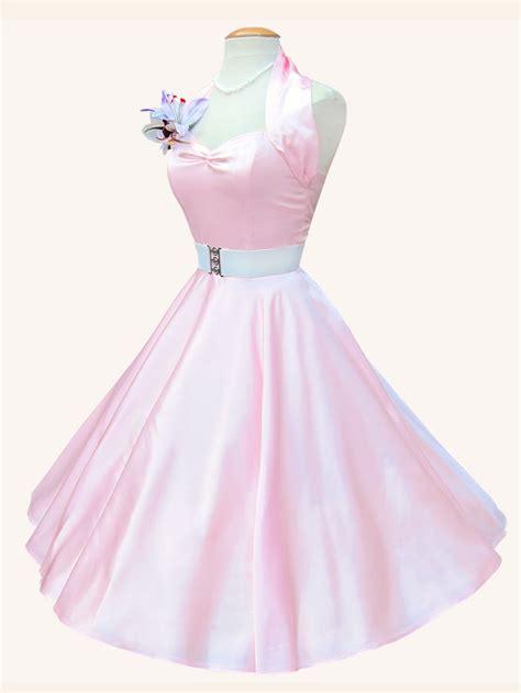 Pink Halter Satin Dress 1950s halterneck pale pink satin dress from vivien of