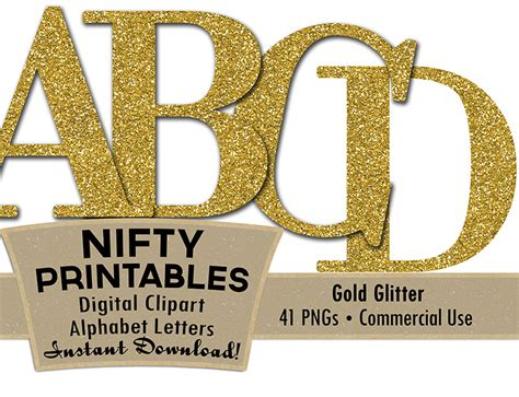 printable letters gold gold glitter alphabet nifty printables