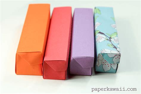 How To Make A Origami Pencil - origami pencil box tutorial 05