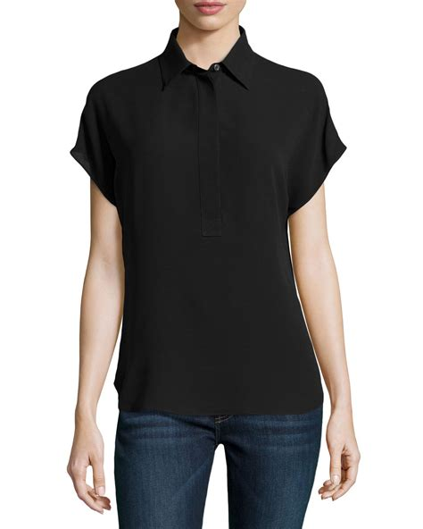 Blouse Button 115 black silk sleeve blouse blouse with
