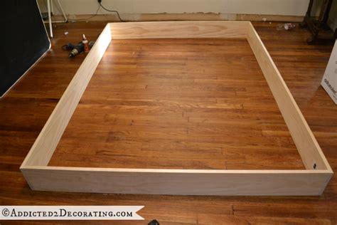 diy stained wood raised platform bed frame part  bed