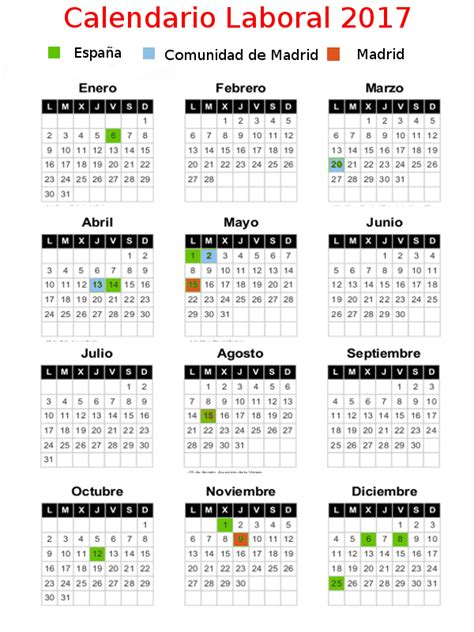 Calendario Laboral Enero 2017 Madrid Calendario Laboral Festivos 2017 Comunidad De Madrid Pqhdm
